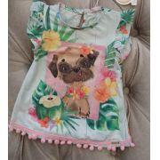 Blusa Mon Sucré verde cachorrinho com pompons rosas