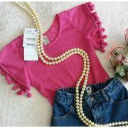Blusa rosa com pompons CAMU CAMU