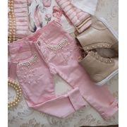 Calça rosa com pérolas PITUCHINHUS