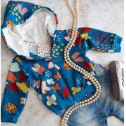 Casaco azul FÁBULA estampa borboletinha