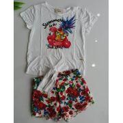 Conjunto Animê blusa abacaxi e short floral vermelho