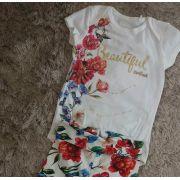 Conjunto Animê body off e calça floral vermelha