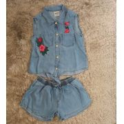 Conjunto Animê jeans patches flores rosa