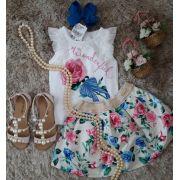 Conjunto blusa e saia Momi off white com estampa rosas