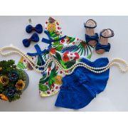 Conjunto floral azul PRECOCE