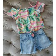 Conjunto Mon Sucré short jeans e blusa estampa tropical