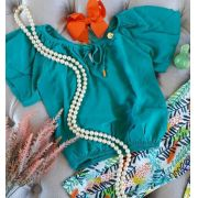 Conjunto pantacourt estampa tropical PRECOCE