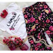Conjunto Pantacurt Floral Animê
