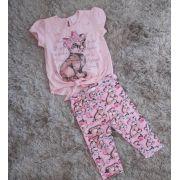 Conjunto Pituchinhus blusa e legging rosa tigrinho