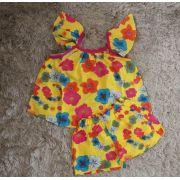 Conjunto Precoce Amarelo floral com pink