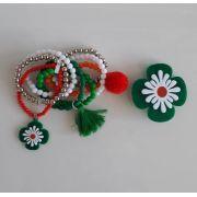 kit pulseira Boho Peace Love e presilha flor verde, branco e laranja