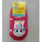 Meia sapatilha Puket 3D Unicórnio rosa