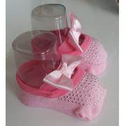 Meia sapatilha Puket minha 1ª sapatilha rosa laço