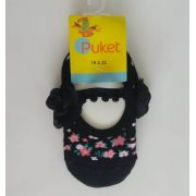 Meia sapatilha Puket preta floral