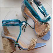Sandália azul amarração CECCONELLO