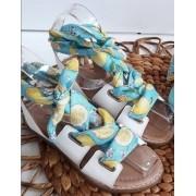 Sandália branca amarração limão CONTRAMÃO