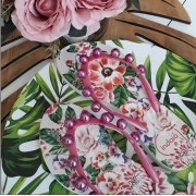 Sandália floral bolas pink INDAIÁ