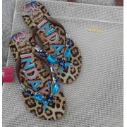 Sandália Indaiá onça pedras azuis