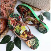 Sandália Indaiá verde tropical abacaxi