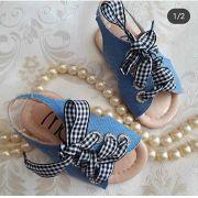 Sandália jeans com amarração xadrez MARIA CARAMELO