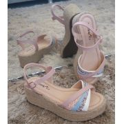 Sandália Menina Rio espadrilhe rosa com glitter