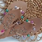 Sandália nude bolas coloridas INDAIÁ