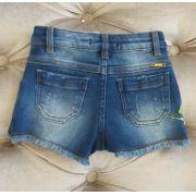 Short Animê jeans bordado vermelho