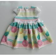 Vestido Animê malha abacaxi candy colors