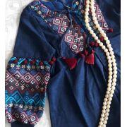 Vestido azul com jacquard CAMU CAMU