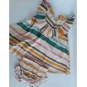 Vestido bebê Fábula off estampa listras