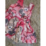 Vestido de festa Pituchinhus bebê rosa com ursos