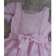 Vestido festa Pituchinhus organza rosa com broche de flor