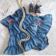 Vestido jeans bordado ANIMÊ