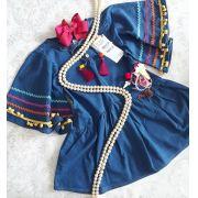 Vestido jeans com passamanarias coloridas CAMU CAMU