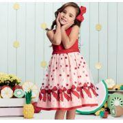 Vestido Momi festa vermelho com rosa tule  bordado