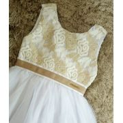 Vestido Momi tule branco com dourado