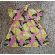 Vestido Precoce bebê rosa limão