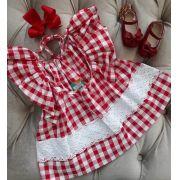 Vestido Precoce xadrez vermelho