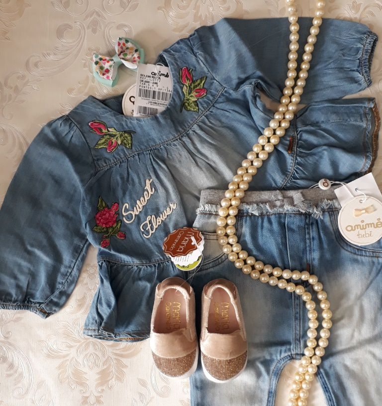 Bata Animê jeans bordada