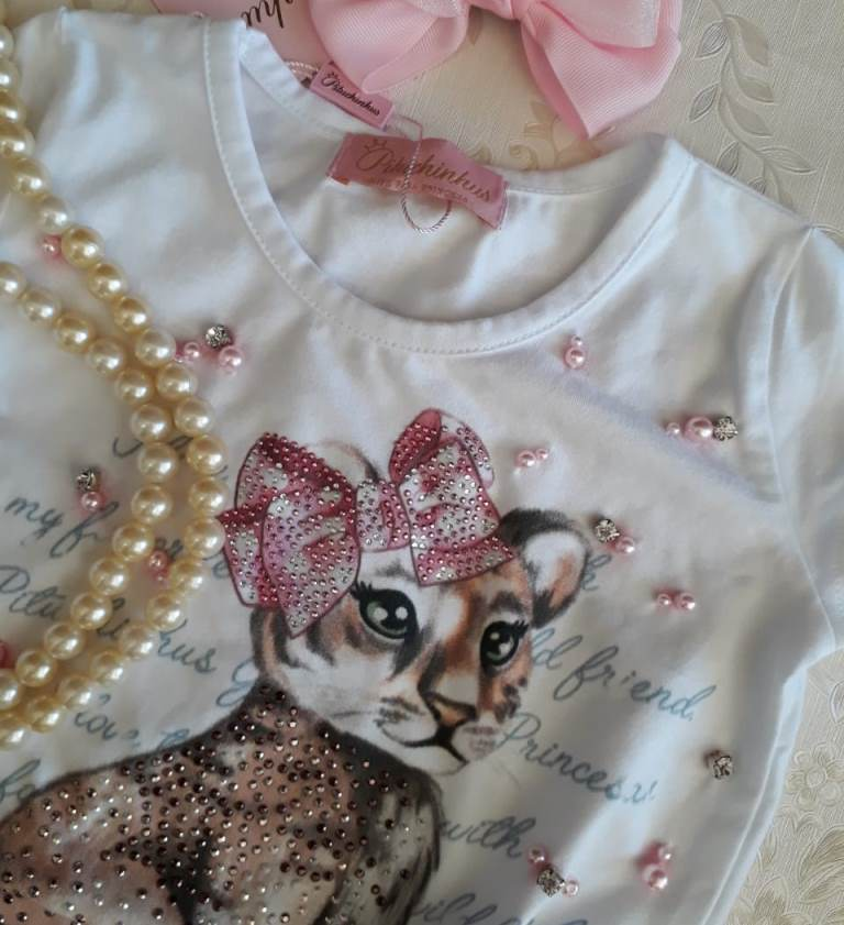 Blusa Pituchinhus branca tigrinho