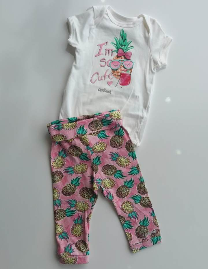 Conjunto Animê legging rosa abacaxi