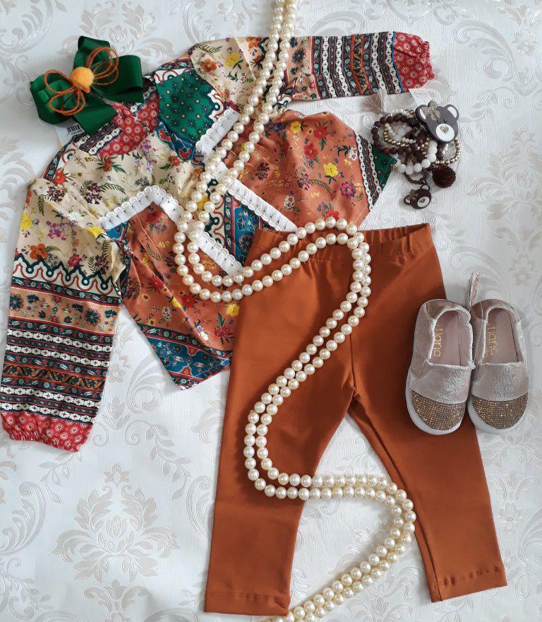 Conjunto bata vintage com legging CAMU CAMU