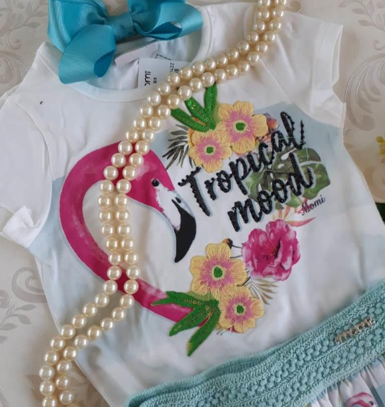 Conjunto blusa e saia flamingo MOMI