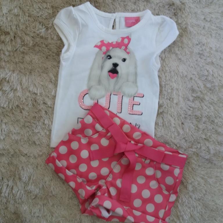 Conjunto blusa off dog e short poá rosa MOMI