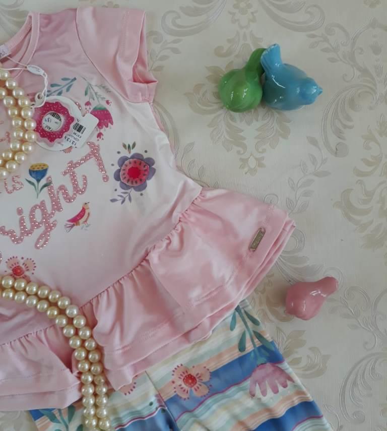 Conjunto blusa rosa e calça estampada MON SUCRÉ