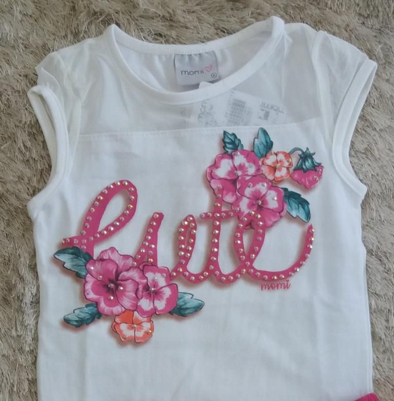 Conjunto blusa tule e saia pink floral MOMI