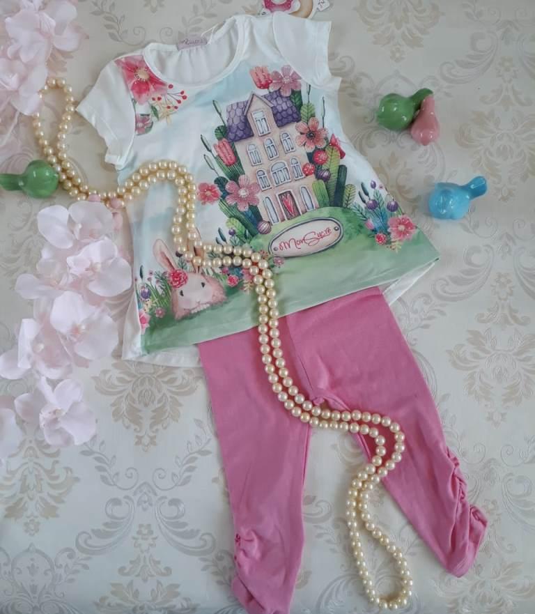 Conjunto coelho legging rosa MON SUCRÉ