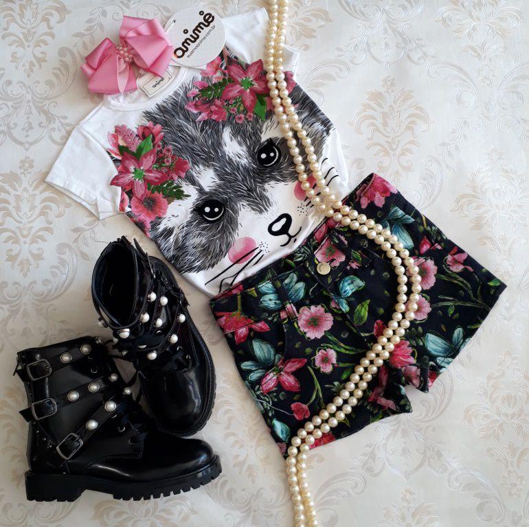 Conjunto short preto floral ANIMÊ