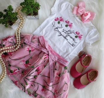 Conjunto Short/Saia Pink Animê