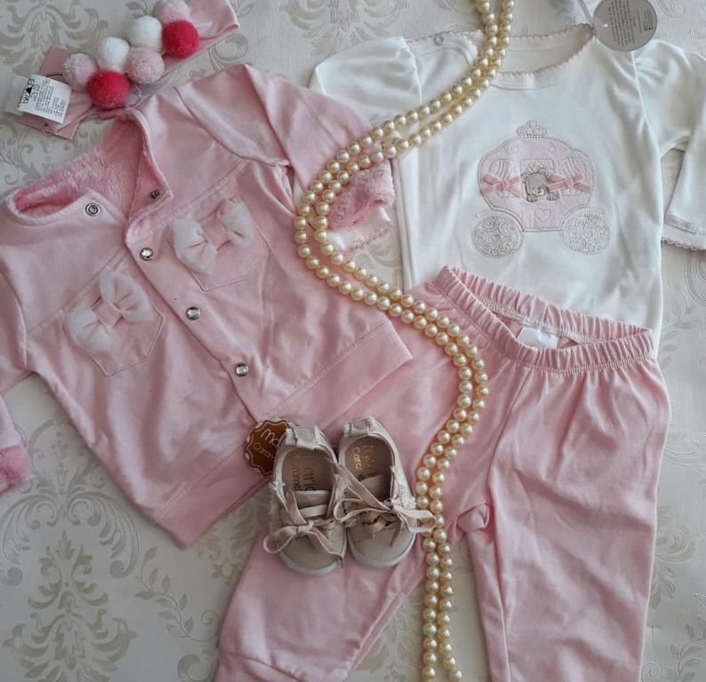 Conjunto UPI ULI 3 peças rosa/marfim